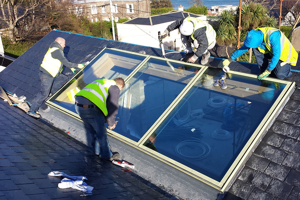 Flush Glazed rooflight system installation